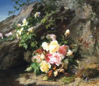 E.R.Wagner Bouquet of roses among rocks 1857 Oil on canvas 80x90,2 Auction Sotheby's