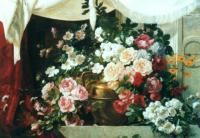 E.Ledoux Vasa of flowers with drapery 1901 Oil on canvas 88,9x114,3 Auction Sotheby's