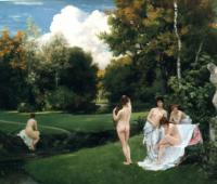 Ch.E.A.Carolus-Duran Bathers in the garden of Fontainebleau 1874 Oil on canvas 146,7x177,8 Auction Sotheby's