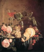 D.de Hem Still-life with flowers and fruit