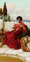 J.W.Godward Mischief 1905 Oil on canvas 101,6x50,8 Private collection