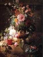 G.J.Johannes van Os Still life with roses, peonies and other flowers Oil on canvas 119,4x91,4 Auction Sotheby's