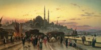 H.D.Solomon Corrodi Duck on the Galata Bridge.Constantinople Oil on canvas 86x165 Auction Christie's