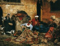 R.Swoboda Carpet Menders.Cairo Oil on canvas 78,7x106,7 Courtesy Mathaf Gallery.London
