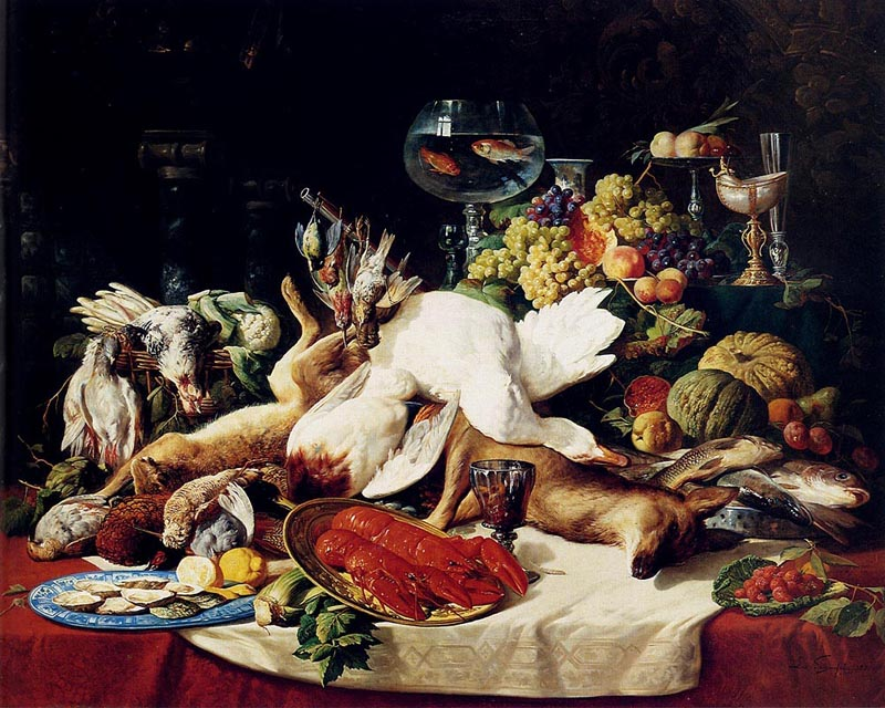 L.Schaefels A Still-life with fruit, fish, game and a goldfish bow 1871 Oil on canvas 198,8x160 Private collection