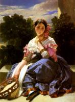 F.X.Winterhalter Young girl from Arissi Oil on canvas 114,3x147,3 Auction Sotheby's