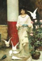 V.A.Kotarbinsky The girl with doves Oil on canvas 35,8x50 The Tretyakov Gallery. Moscow